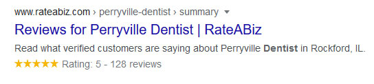 Rich Snippet of a RateABiz Search Result